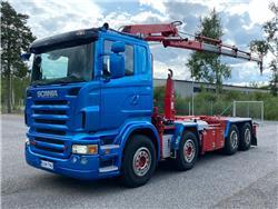 Scania R500 8x4 koukkulaite + Hiab220 nosturi, Nosturiautot, Kuljetuskalusto