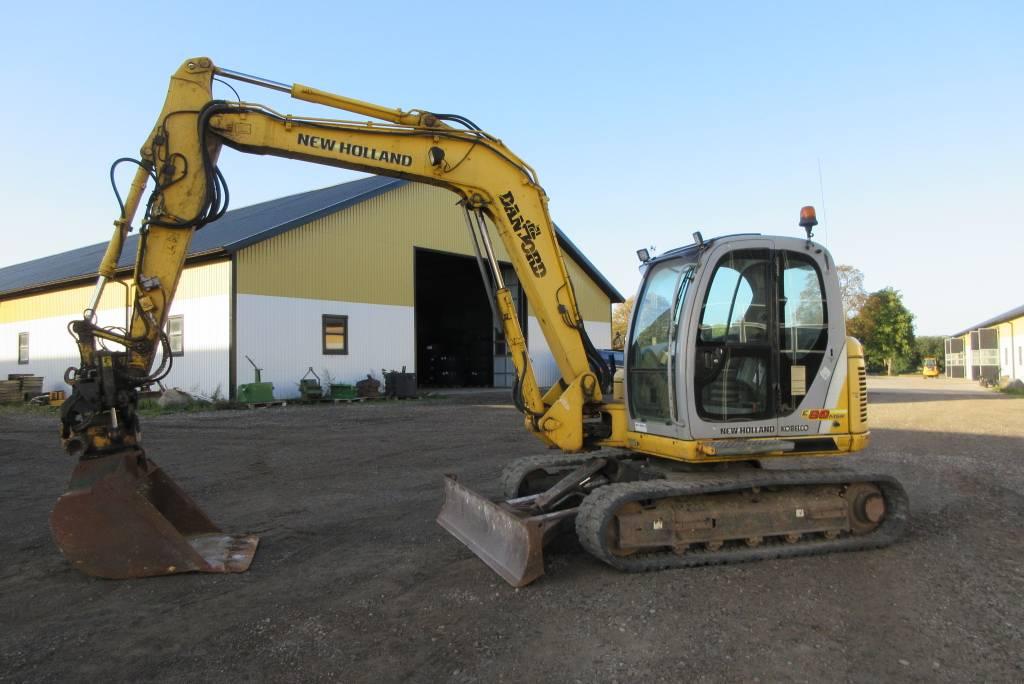 New Holland E80-1ES  grävmaskin, rototilt, c-smörj, Midigrävmaskiner 7t - 12t, Entreprenad