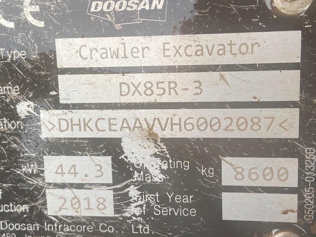 Doosan DX 85 R-3, Mini excavators  7t - 12t, Construction Equipment