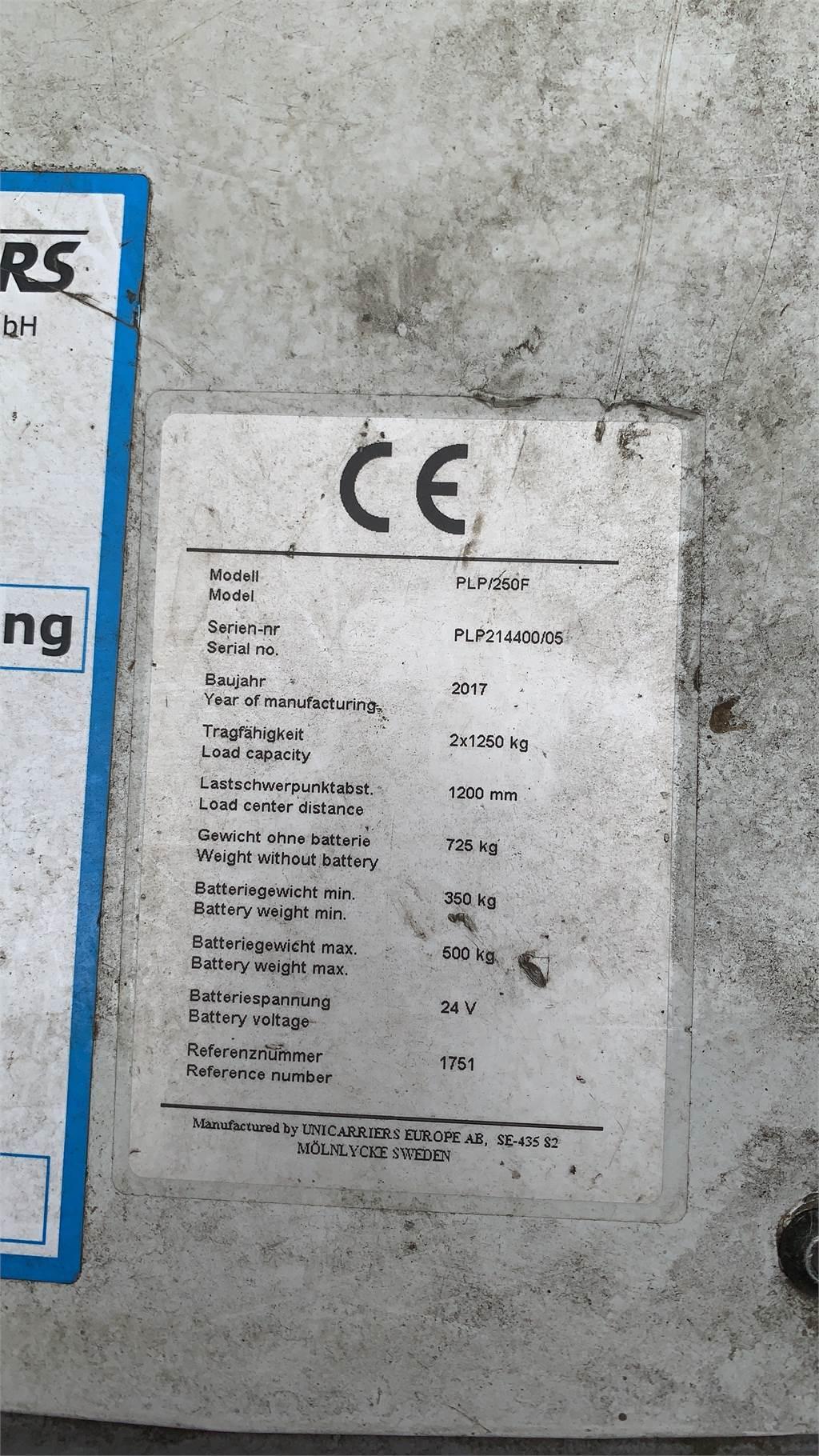 UniCarriers PLP250 F, Niedergabelstapler, Flurförderzeuge