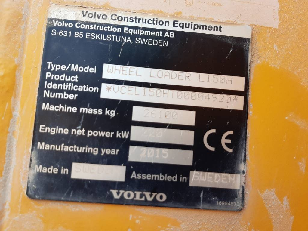 Volvo L 150 H, Cargadoras sobre ruedas, Construcción
