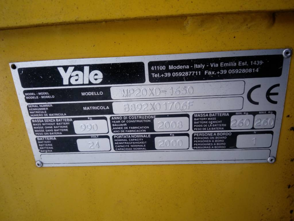 Yale MP 20 XD, Low lifter with platform, Material Handling