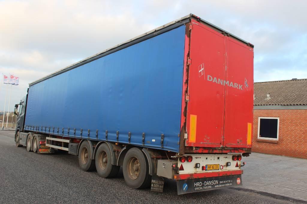 HRD 3 akslet gardintrailer langboogie, Semi-trailer med Gardinsider, Transport