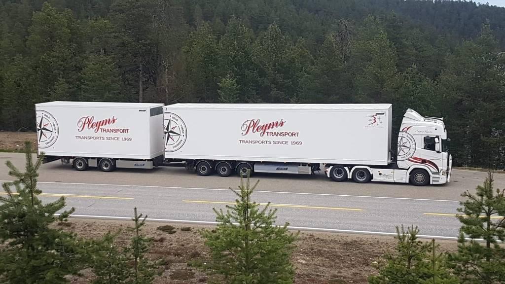 Närko puoliperävaunu + vasikka (keskiakseliperävaunu), Box body semi-trailers, Transportation