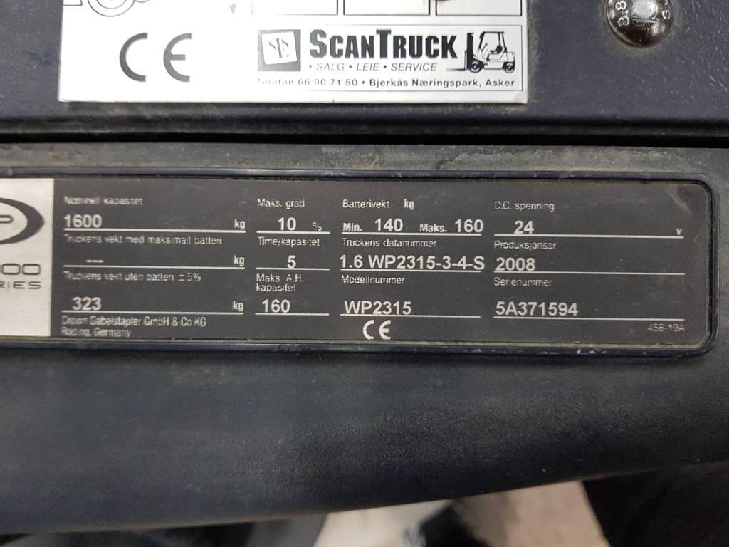 Crown WP 2315-16 palletruck, Lavtløftende truck, Truck