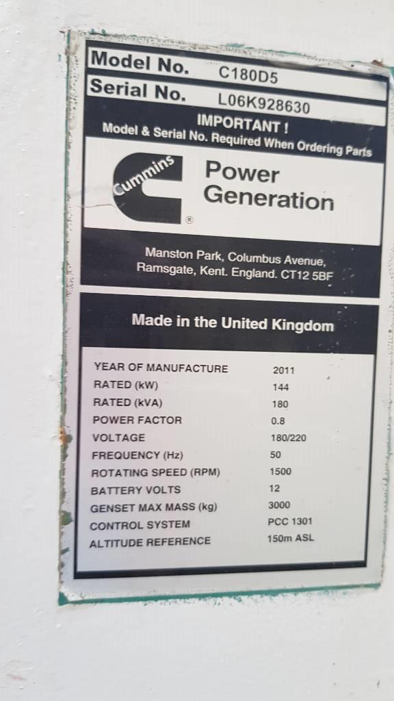 Cummins C 180 - 180 KVA, Generadores diesel, Construcción