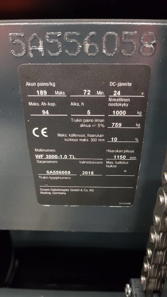 Crown WF 3000-1.0 TL Vuokralla, Käyden ajettavat pinoamistrukit, Materiaalinkäsittely