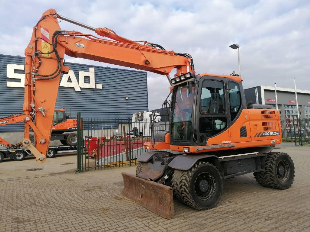 Doosan DX 160 W-3 Mobile excavator, Wheeled Excavators, Construction Equipment