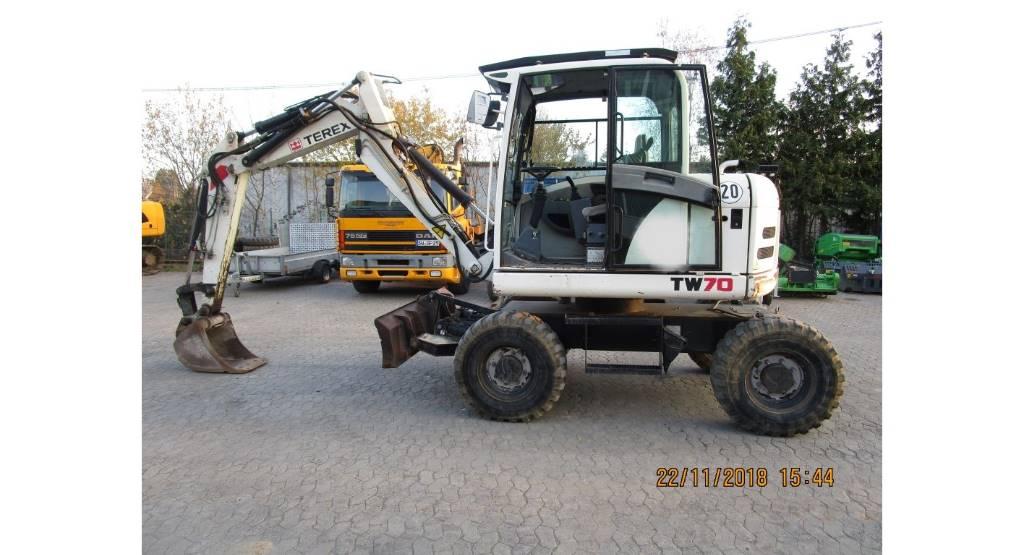 Terex TW 70, Mobilbagger, Baumaschinen