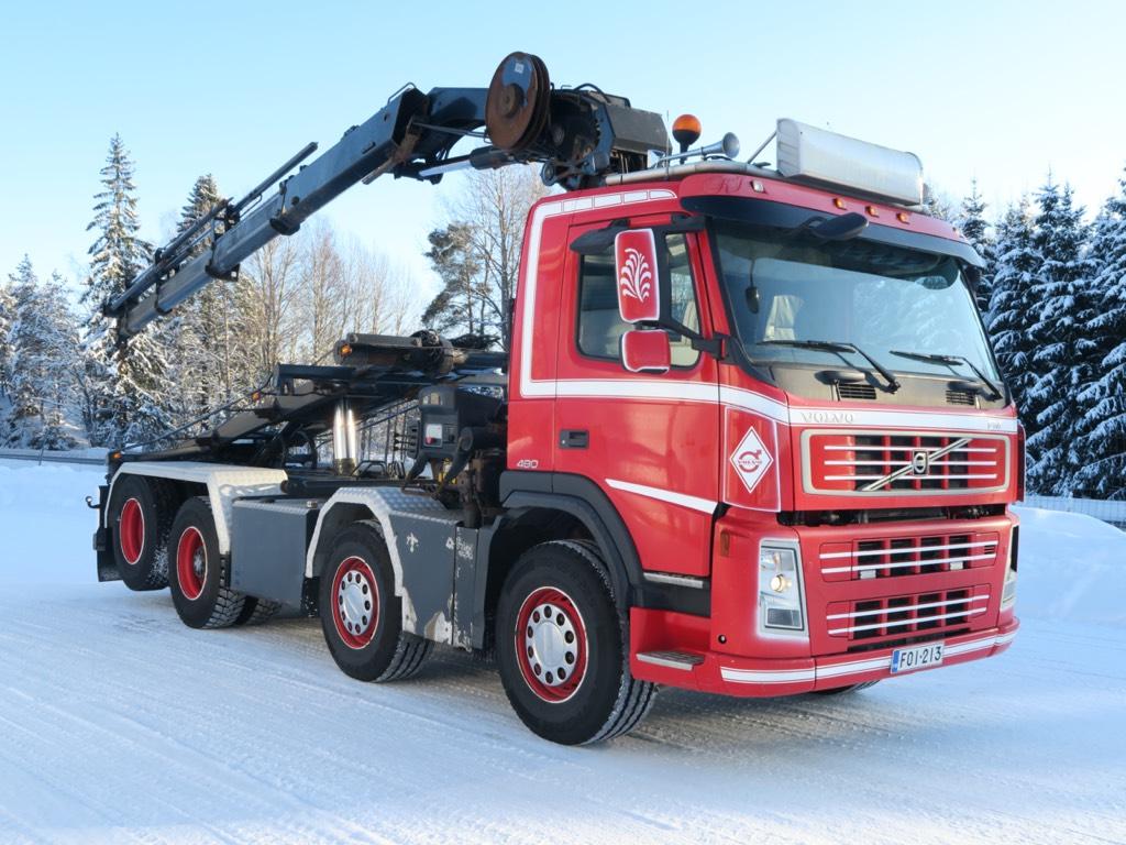 Volvo FM480 8x2 Hiab211 EP-5 HiPro nosturi, vaijerilaite, Nosturiautot, Kuljetuskalusto