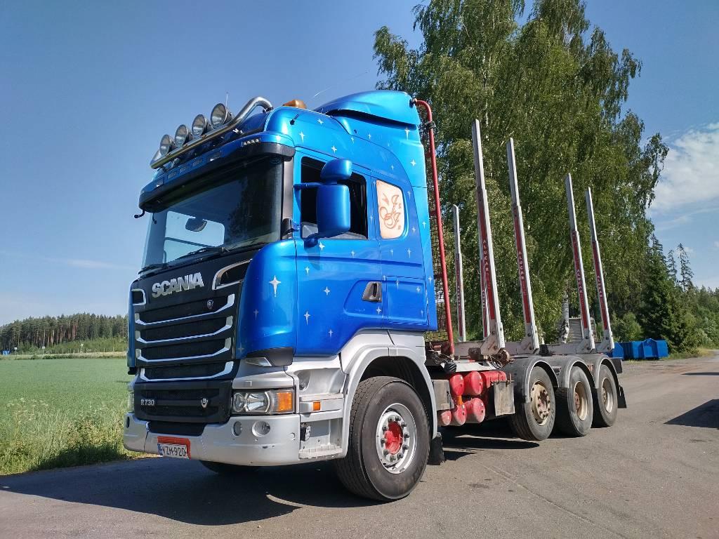 Scania R730 8x4 trippeli, rautajouset, Puuautot, Kuljetuskalusto