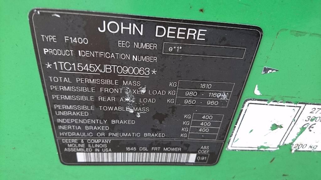 John Deere 1545, Riding mowers, Groundcare