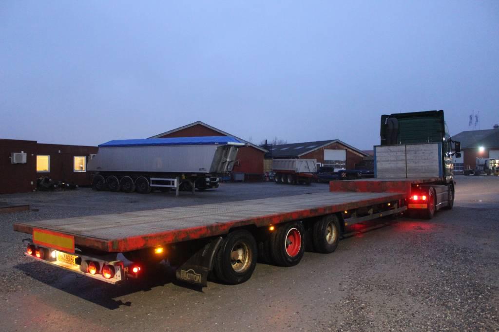 Pacton 3 akslet nedbygget åben trailer, Semi-trailer med lad/flatbed, Transport