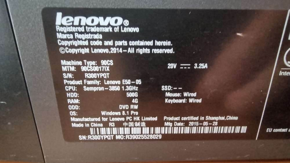 [Other] NR 1 PC LENOVO ESS E50-05 + NR 1 MONITOR AOC 19.5