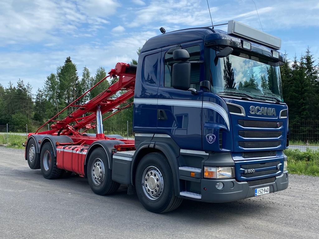 Scania R500 8x2 vaijerilaite, ohjaava teli, Vaihtolava-autot, Kuljetuskalusto