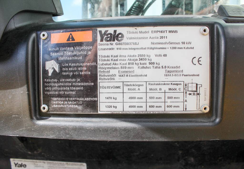 Yale ERP16VT, Electric counterbalance Forklifts, Material Handling