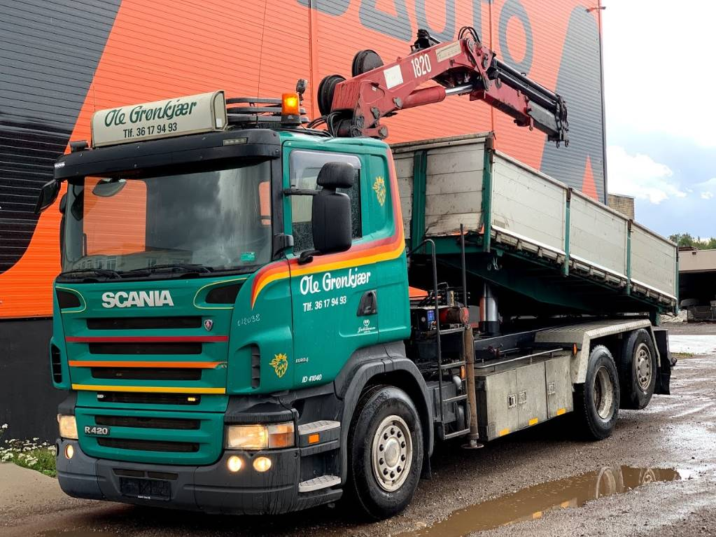 Scania R420 Three side Tipper+HMF 1820, Dump Trucks, Trucks and Trailers