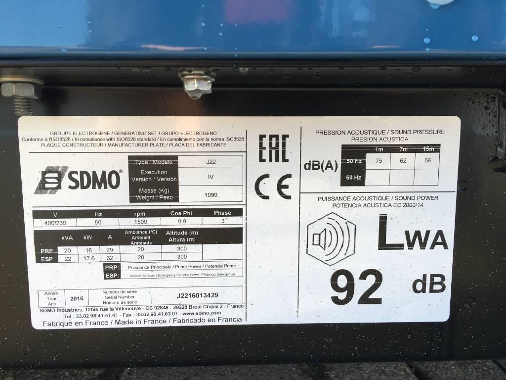 Sdmo J22 - 22 kVA Generator - DPX-17100, Diesel generatoren, Bouw