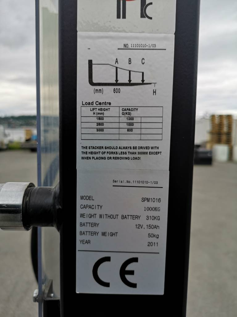 Noblelift 1,0 tonns semi-elektrisk ledestabler LH 1,6 m, Ledestablere, Truck