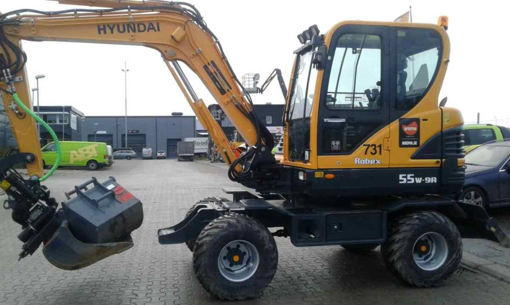 Hyundai R55W-9A *UTHYRES*, Hjulgrävare, Entreprenad