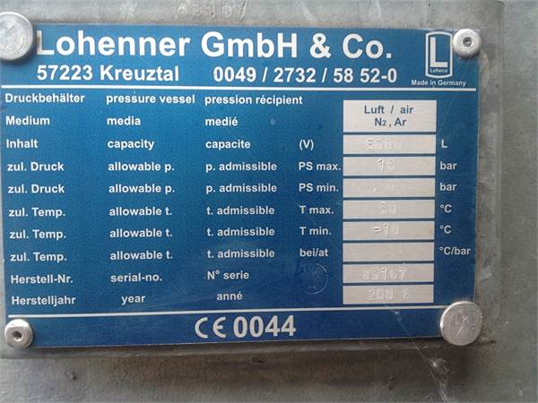 Air receiver 5000L -16 bar(e), Compressor accessories, Industrial