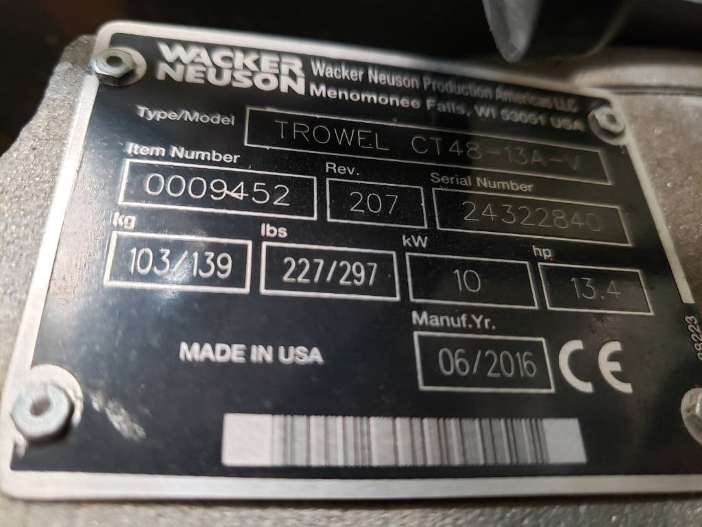 Wacker Neuson CT48, Trowels, Products