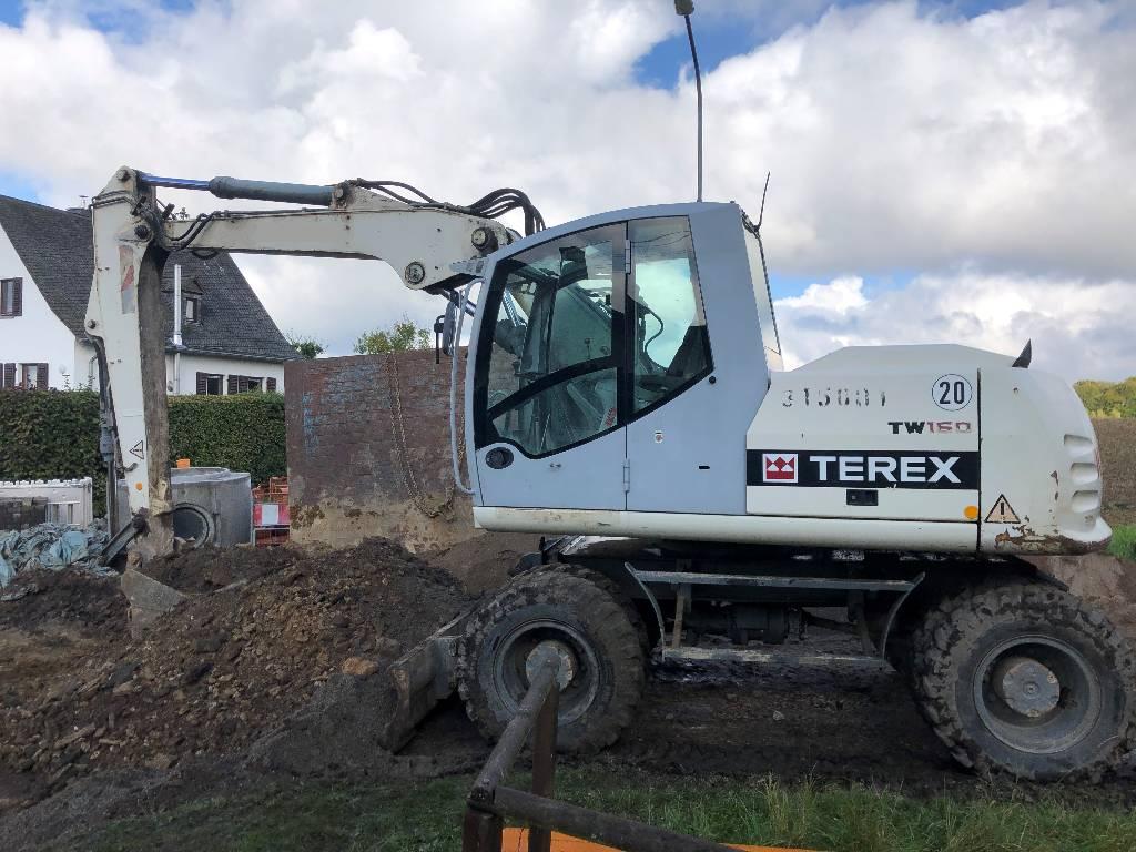 Terex TW 160, Mobilbagger, Baumaschinen