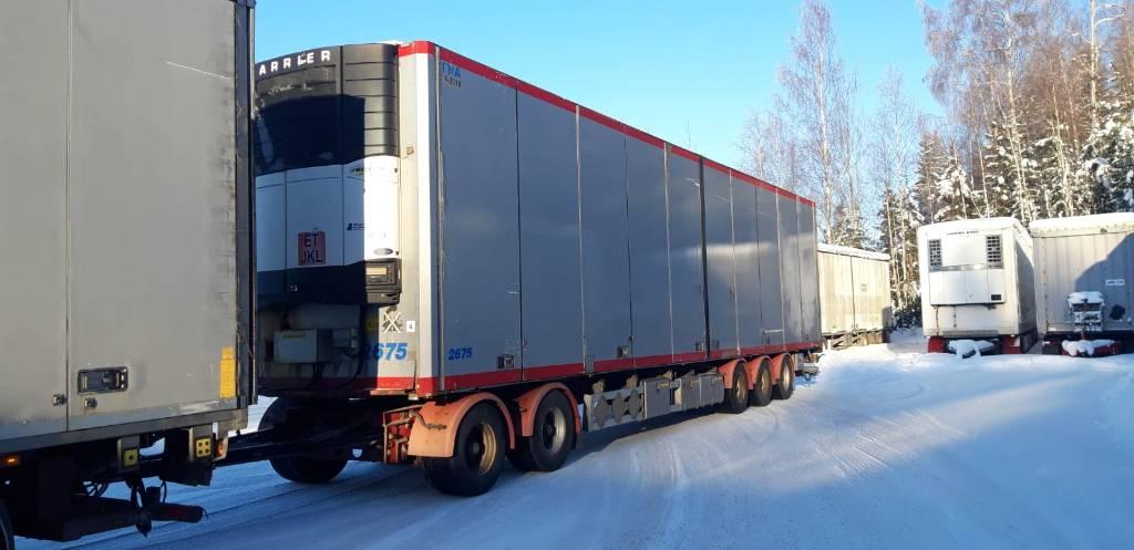 Närko 5 aks .Carrier kylmäkone + perälauta nostin, Kylmä-/Lämpökoriperävaunut, Kuljetuskalusto