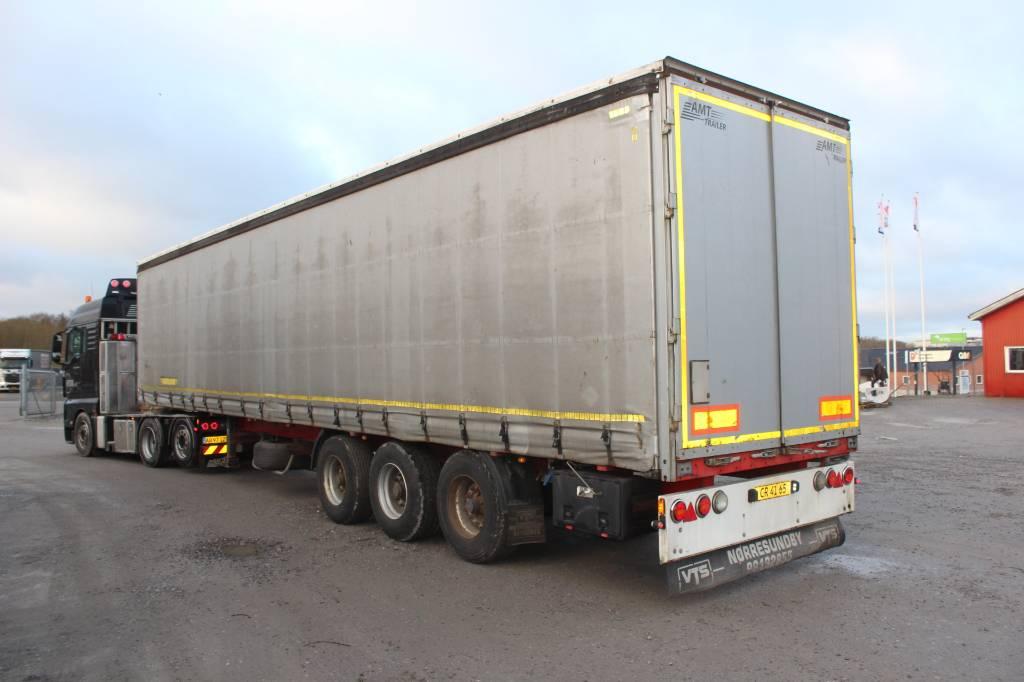 AMT 3 Akslet gardintrailer med skydetag, Semi-trailer med Gardinsider, Transport