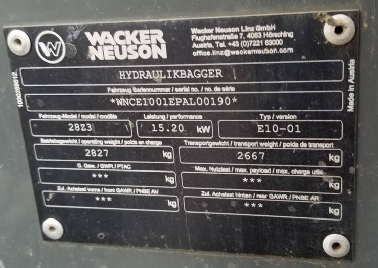 Wacker Neuson 28Z3, Tracked / Mini excavators, Products