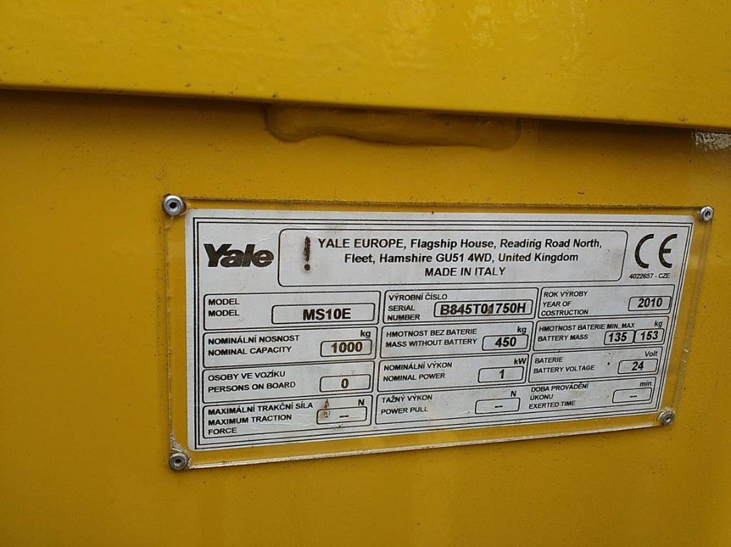 Yale MS10E, Pedestrian stacker, Material Handling