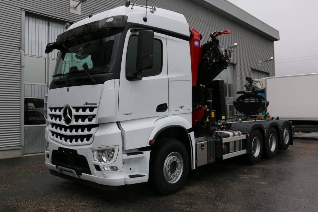 Mercedes-Benz AROCS 3253 Kran-lastväxlare, Kranbilar, Transportfordon