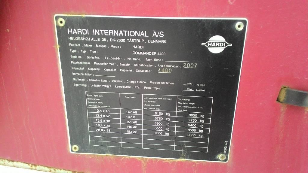 Hardi Commander 4400, Haagispritsid, Põllumajandus