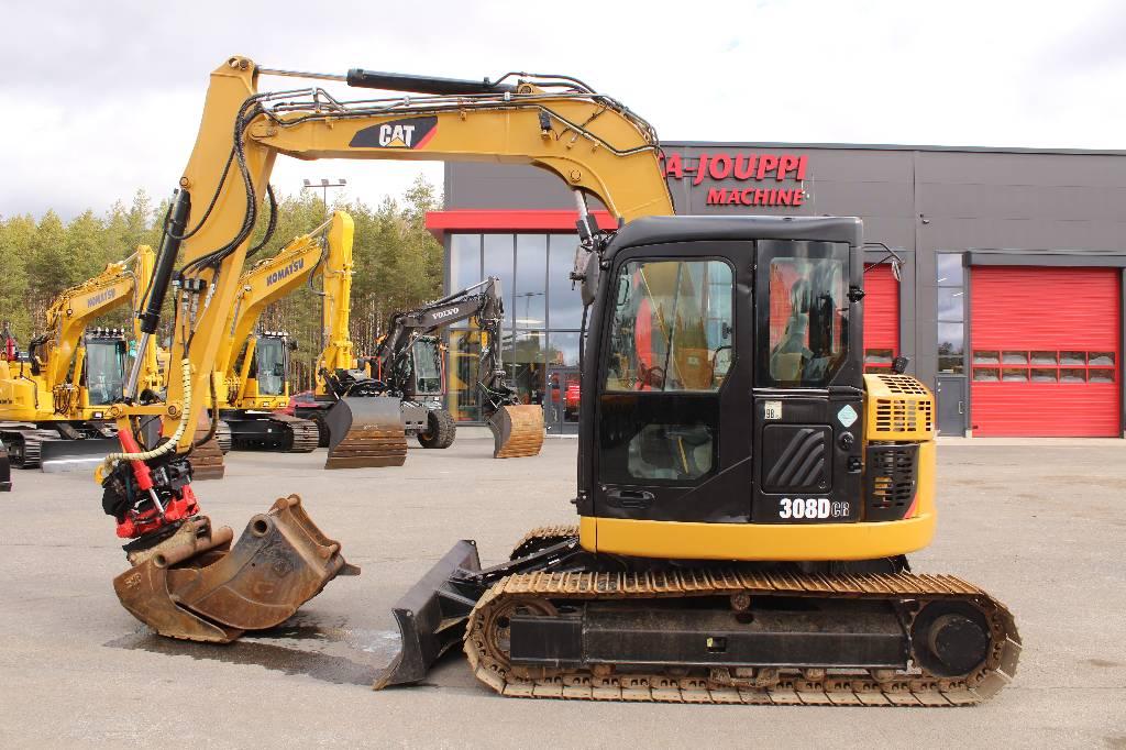 Caterpillar 308 D CR / Pyörittäjä, 2 kauhaa, Midikaivukoneet 7t - 12t, Maarakennus