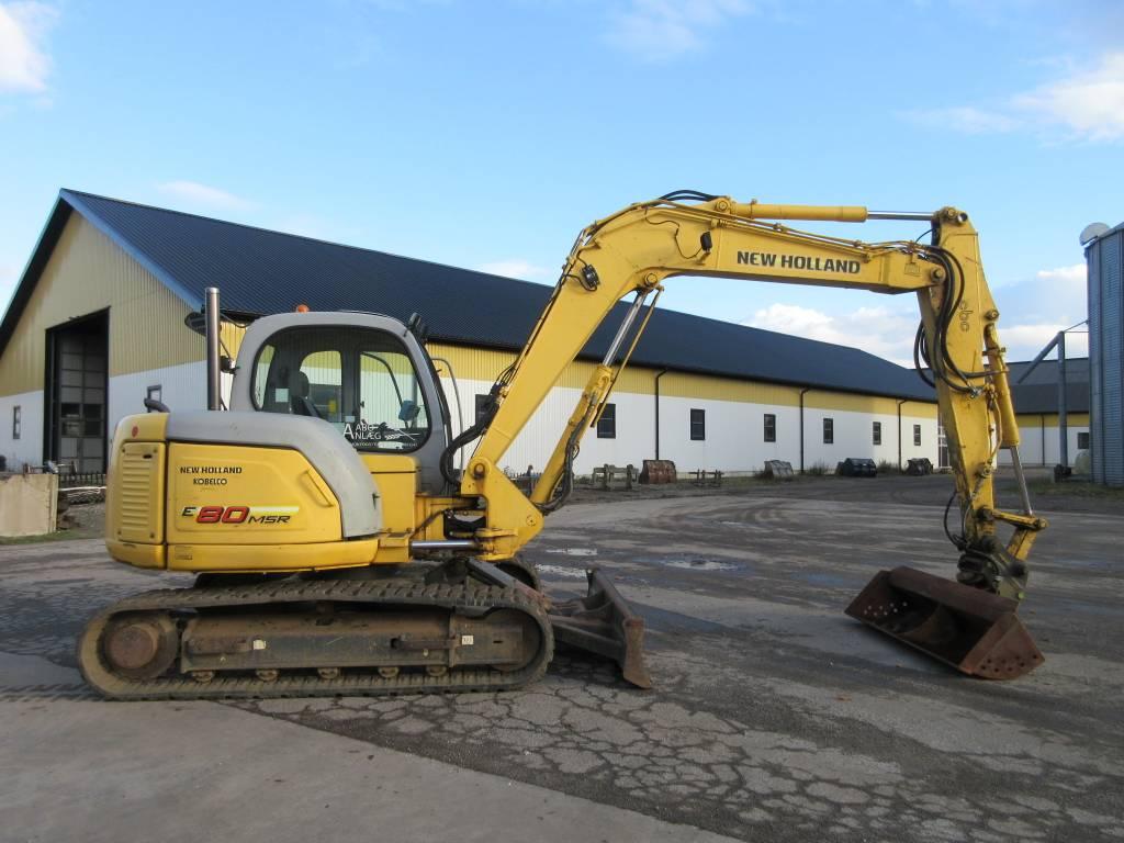 New Holland Kobelco E80 grävmaskin, c-smörj, grävsystem, Midigrävmaskiner 7t - 12t, Entreprenad