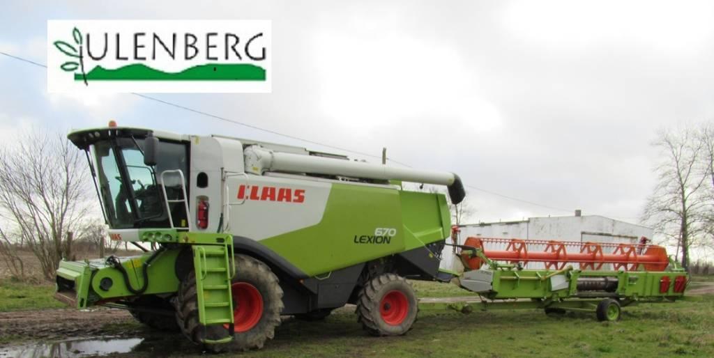 CLAAS LEXION 670 +C750+STÓL+W.TRANSPORTOWY, Kombajny zbożowe, Maszyny rolnicze