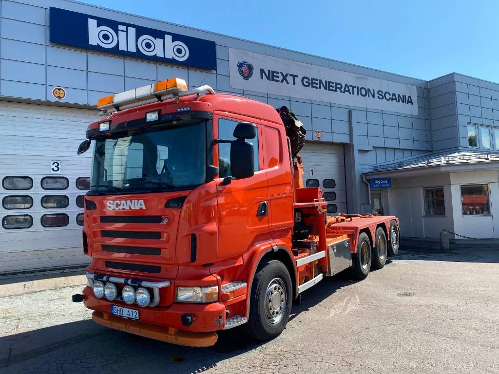 Scania R 400 LB8x4*4HSA Palfinger kran samt lastväxlare, Kranbilar, Transportfordon
