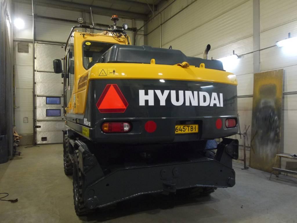 Hyundai R 140 W-9A rototilt pihdeillä, perävaunuvalmius, Pyöräkaivukoneet, Maarakennus