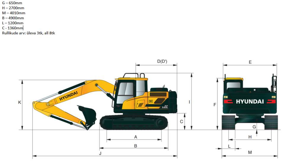 Hyundai HX160L, 1400mm lintidel, Crawler excavators, Construction