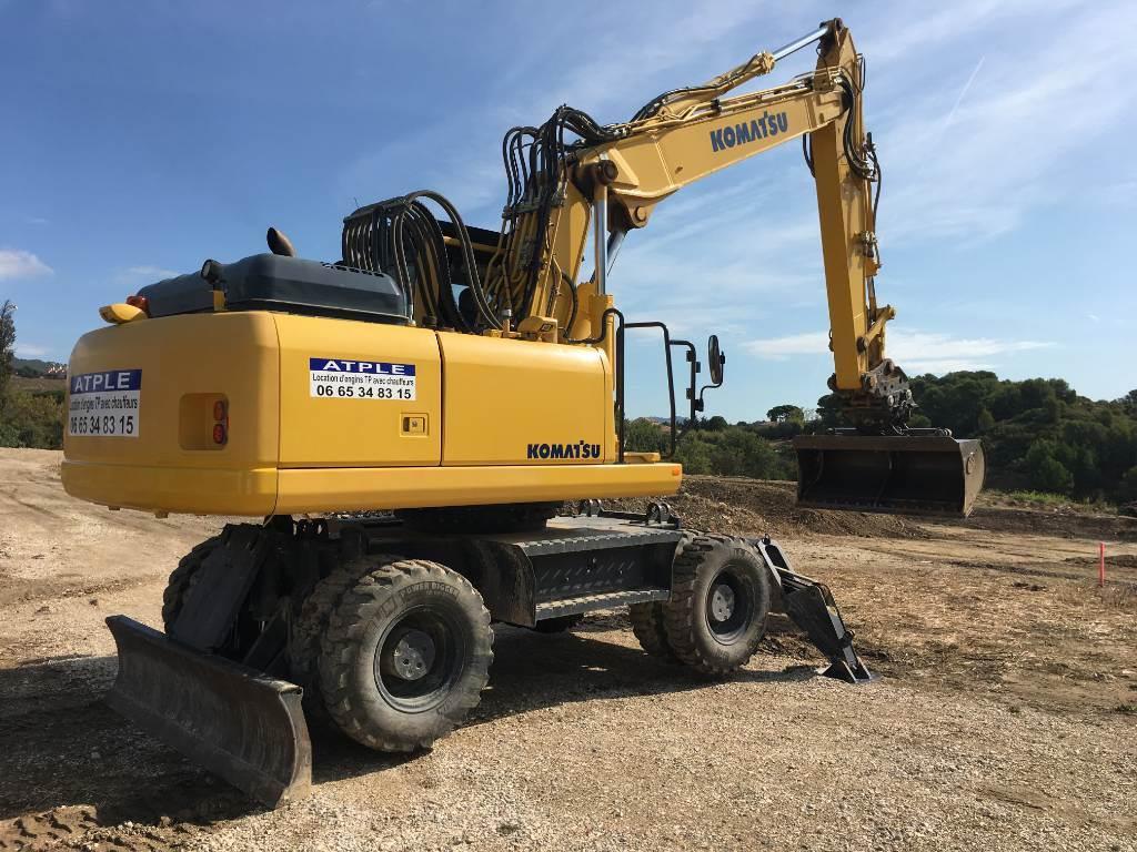 Komatsu PW200-7E0, Wheeled Excavators, Construction Equipment