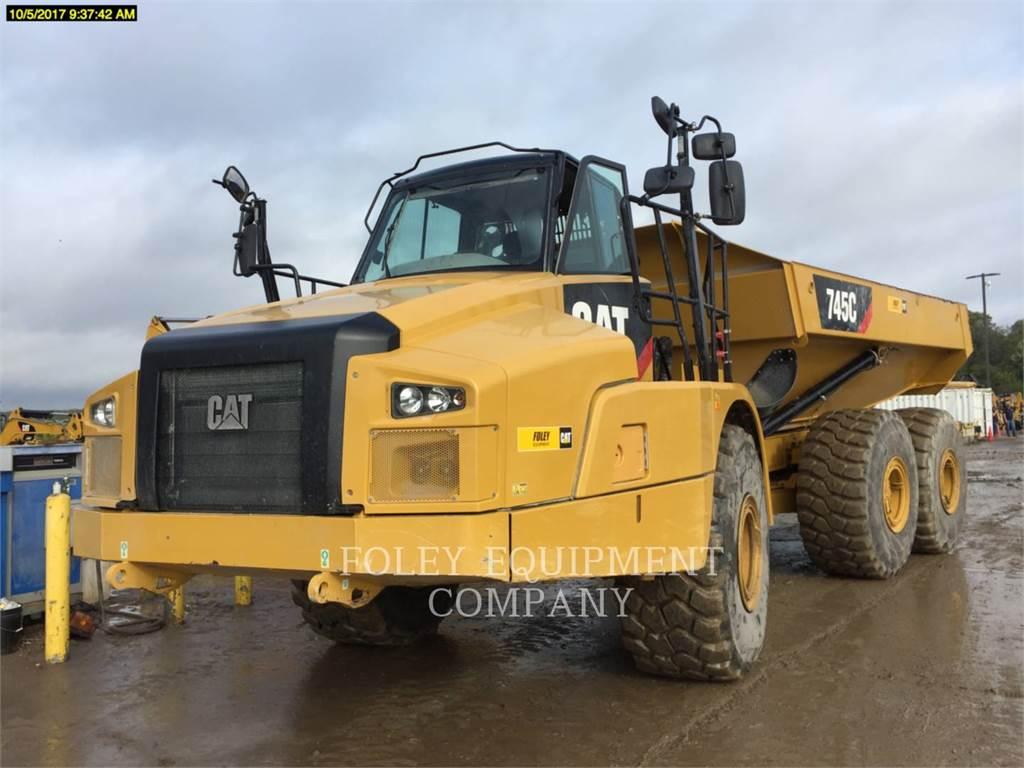 Caterpillar 745C、アーティキュレート式ダンプトラック、建設