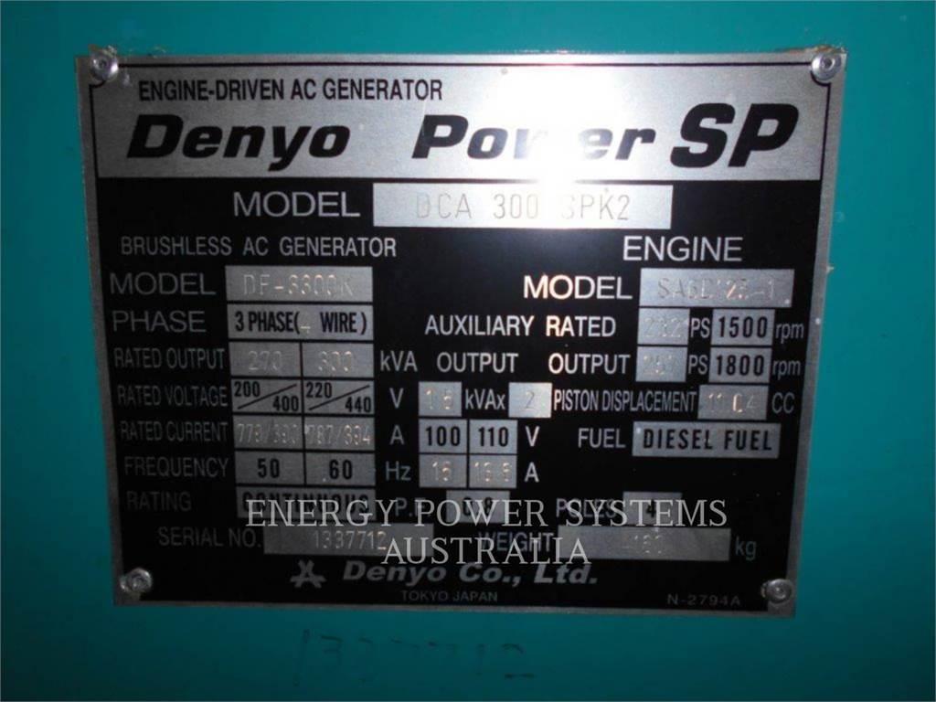 Denyo DCA300SPK2, conjuntos de geradores móveis, Equipamentos Construção