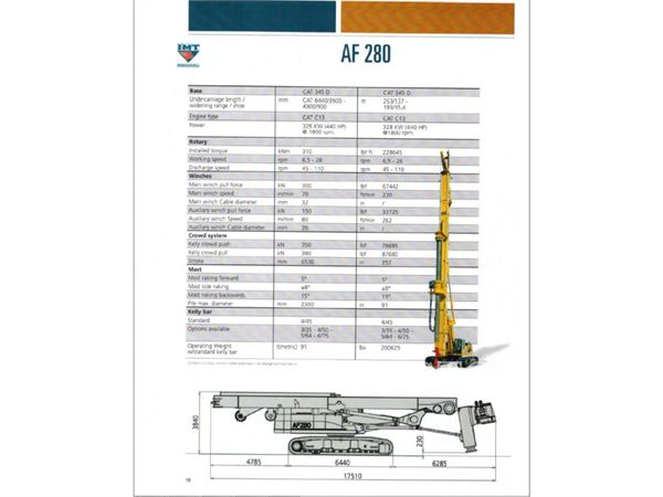 IMT AF280, Surface drill rigs, Construction