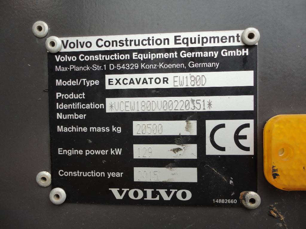 Volvo EW180D, Wheeled Excavators, Construction Equipment