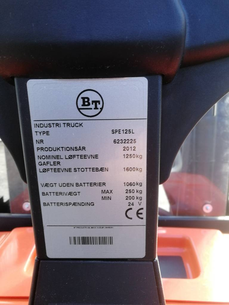 BT SPE 125 L, Ajettavat pinoamisvaunut, Materiaalinkäsittely