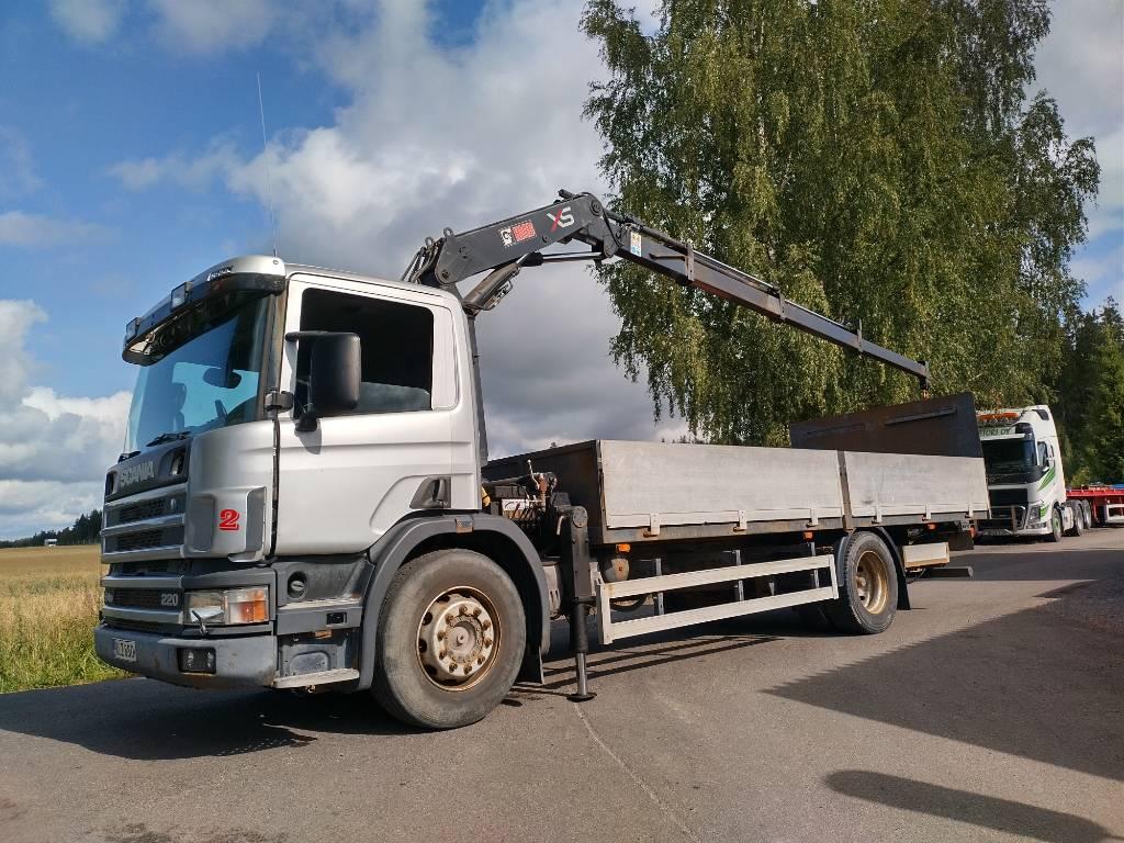 Scania P 94 4x2 rahtilava+pl+Hiab 095 nosturi, Nosturiautot, Kuljetuskalusto