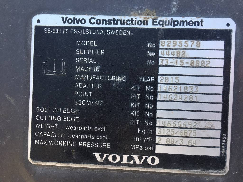 Volvo HDX 2,8 CUM FOR EC480E PIN ON, Buckets, Construction Equipment
