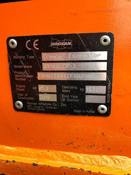 Doosan DX140LCR-3, Crawler Excavators, Construction Equipment