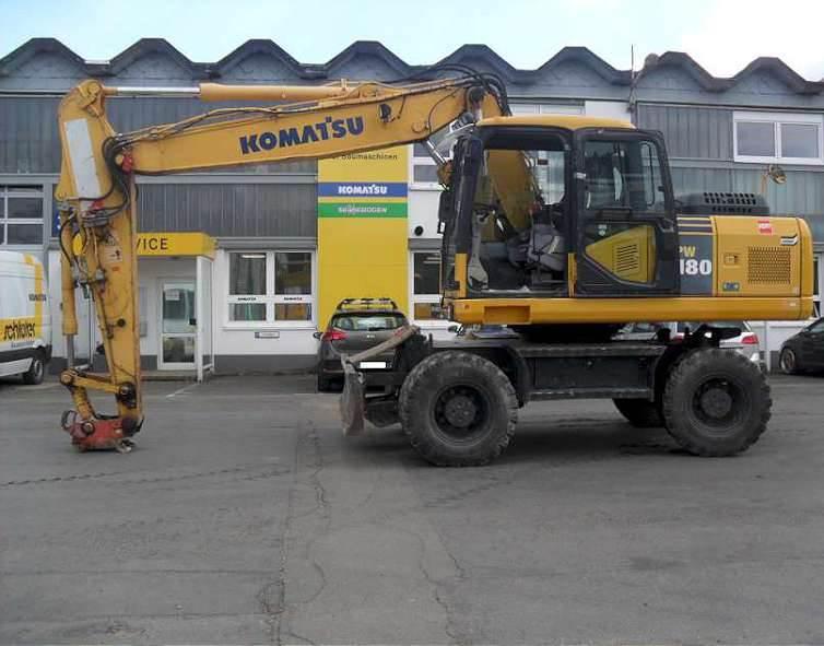 Komatsu PW180-7E0H, Wheeled Excavators, Construction Equipment