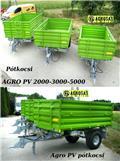 Agro PV 2t pótkocsi Tuber traktorhoz egy tengelyes  pót, 2016, Treileri-pašizgāzēji